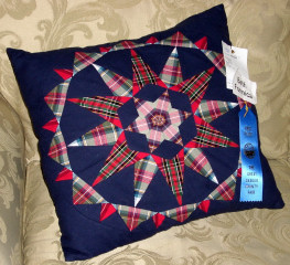 First Place patchwork pillow, sewn by Beth Formica - 'Brilliant Cut' block design by Candy Goff